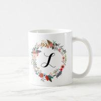 Monogram Botanical Flower Wreath Coffee Mug