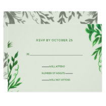 Monogram Botanical Greenery Wedding rsvp Card