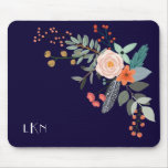 Monogram Botanical Mouse Pad<br><div class='desc'>A colorful spray of graphic botanical flowers decorate this mousepad and it can be personalized with three monogram initials. The background is a rich navy blue.</div>
