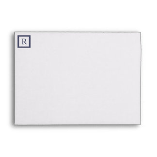 Monogram Box Steel Blue Tree 5x7 Size Envelope