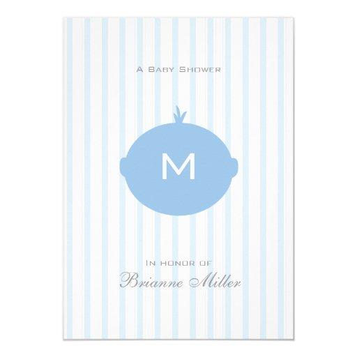 Monogram Boy Baby Shower Invitation - Blue & White