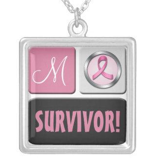 Monogram Breast Cancer SURVIVOR Necklace
