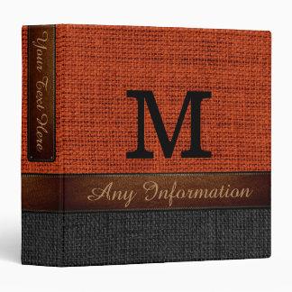 Monogram Brick Red & Black Burlap Rustic Jute Binder