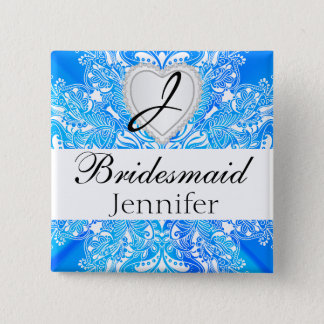Monogram Bridal Party Blue Satin Design Pinback Button