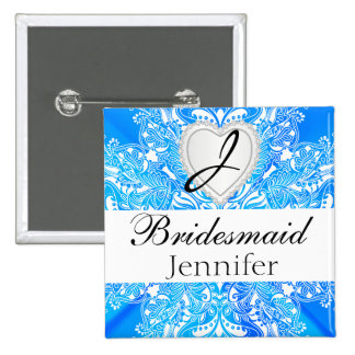 Monogram Bridal Party Blue Satin Design Pinback Button