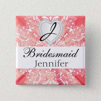 Monogram Bridal Party Coral Satin Design Pinback Button