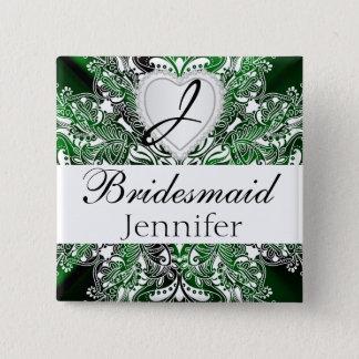 Monogram Bridal Party Dark Green Satin Design Pinback Button