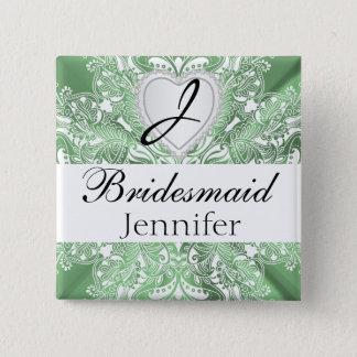 Monogram Bridal Party Mint Green Satin Design Button