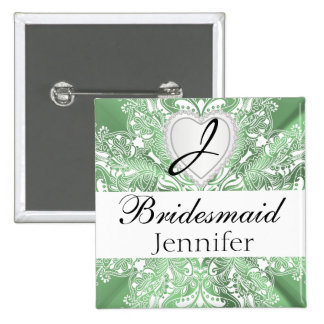 Monogram Bridal Party Mint Green Satin Design Button