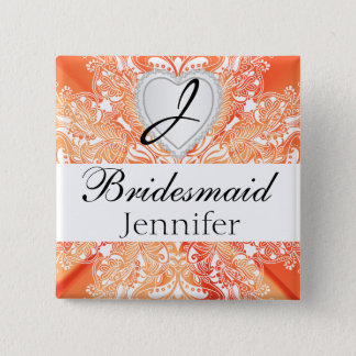 Monogram Bridal Party Orange Satin Design Button