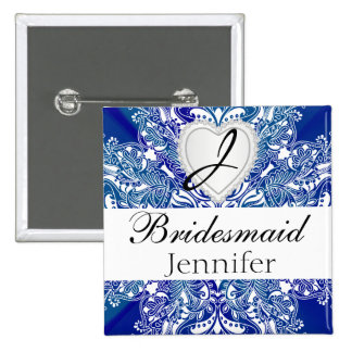 Monogram Bridal Party Royal Blue Satin Design Pinback Button