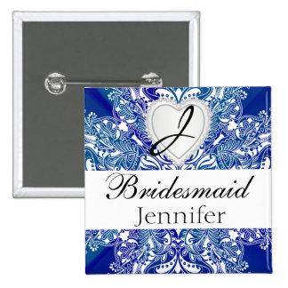 Monogram Bridal Party Royal Blue Satin Design Pinback Button