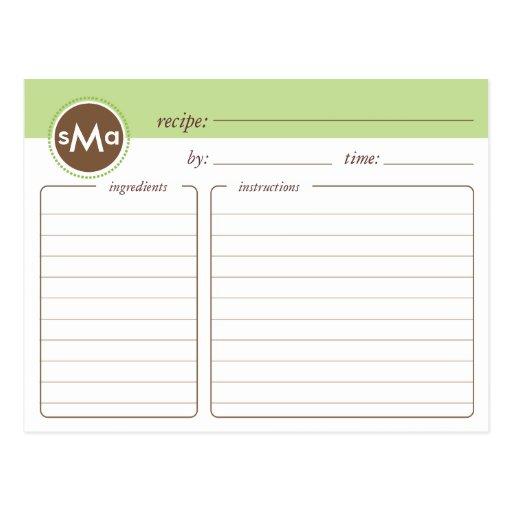 Monogram Bridal Shower Recipe Card Postcard