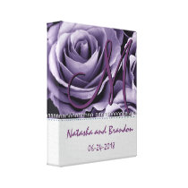Monogram Bride and Groom with Dusty Purple Roses Canvas Print