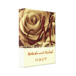 Monogram Bride and Groom with Gold Roses Gallery Wrap Canvas