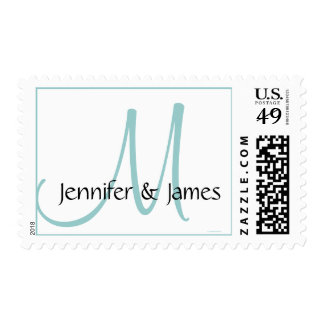 Monogram Bride Groom Blue White Postage