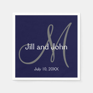 Monogram Bride Groom Date Wedding Paper Napkins