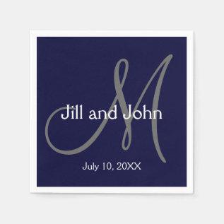 Monogram Bride Groom Date Wedding Paper Napkins at Zazzle