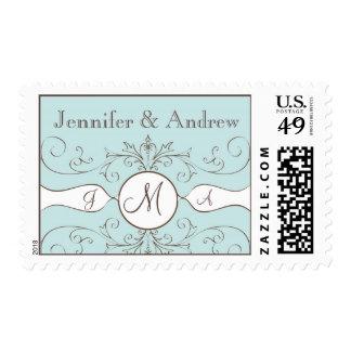 Monogram Bride Groom Names Wedding Postage Stamps