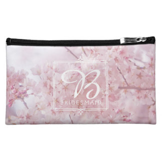 Monogram Bridesmaid Pale Pink Cherry Blossoms Cosmetic Bag