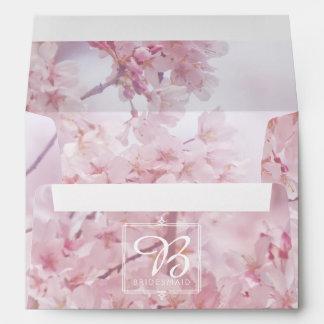 Monogram Bridesmaid Pale Pink Cherry Blossoms Envelope