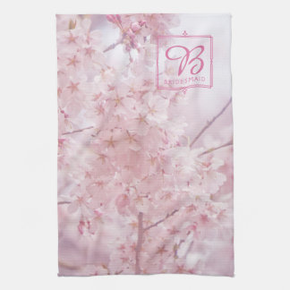 Monogram Bridesmaid Pale Pink Cherry Blossoms Hand Towels