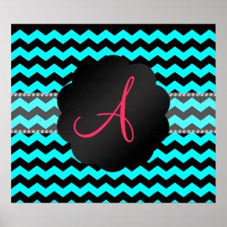 Monogram bright aqua and black chevrons posters