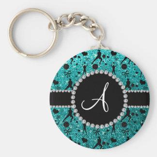 Monogram bright aqua glitter volleyball players keychain