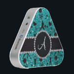 """Monogram bright aqua glitter volleyball players speaker<br><div class=""""desc"""">Modern, trendy, girly and chic monogrammed sports bright aqua glitter (not real glitter) volleyball players, hearts and bows pattern with black diamond encrusted circle (faux not real diamonds) and black diamond stripe monogram gifts or your initials letter change to any letter a, b, c, d, e, f, g, h, i,...</div>"""