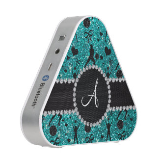 Monogram bright aqua glitter volleyball players speaker