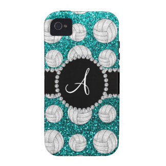 Monogram bright aqua glitter volleyballs Case-Mate iPhone 4 cover