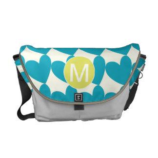 Monogram Bright Aqua Heart Chartreuse  Pattern Courier Bag