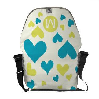 Monogram Bright Aqua Heart Chartreuse  Pattern Courier Bags