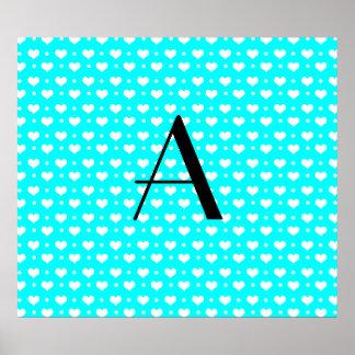 Monogram bright aqua hearts and polka dots print