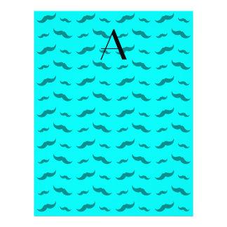 "Monogram bright aqua mustache pattern 8.5"" x 11"" flyer"