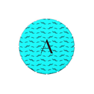Monogram bright aqua mustache pattern jelly belly tins