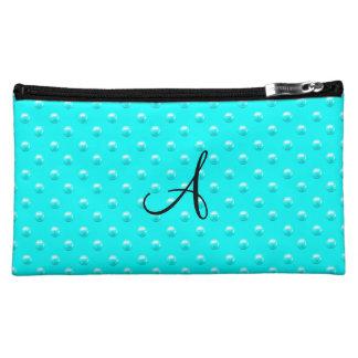 Monogram bright aqua pearl polka dots cosmetic bag