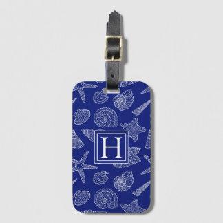 Monogram Bright Blue Shell Pattern Luggage Tag
