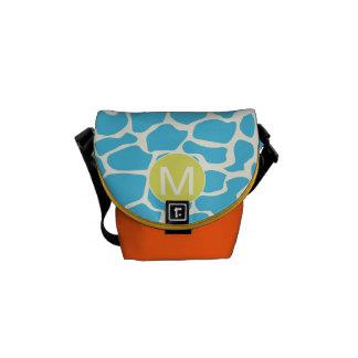 Monogram Bright Colorful Aqua Giraffe Pattern Messenger Bag