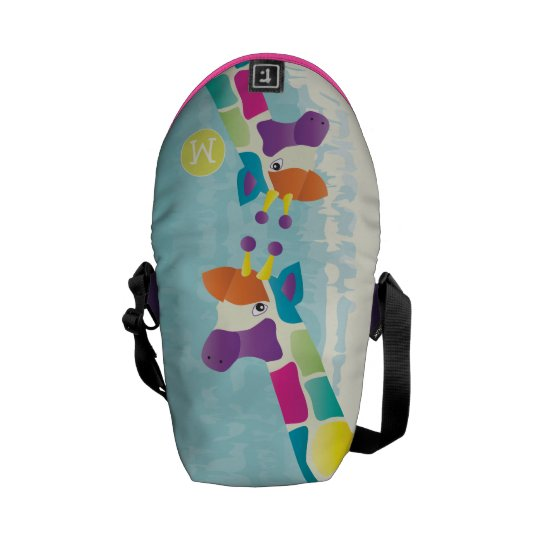 Monogram Bright Colorful Giraffe Pattern Courier Bag