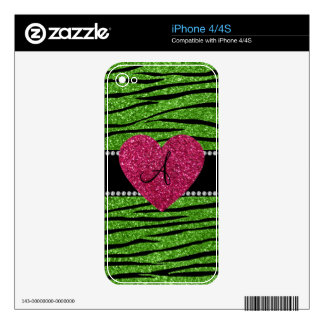 Monogram bright green glitter zebra stripes heart decals for the iPhone 4S