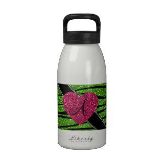 Monogram bright green glitter zebra stripes heart water bottle