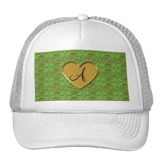 Monogram bright green gold moroccan damask trucker hat