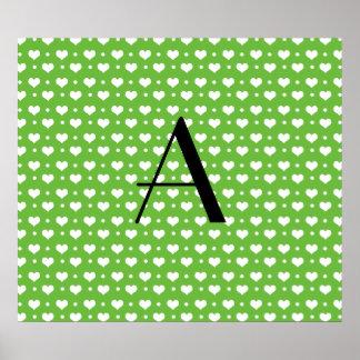 Monogram bright green hearts polka dots print