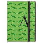 Monogram bright green mustache pattern iPad case