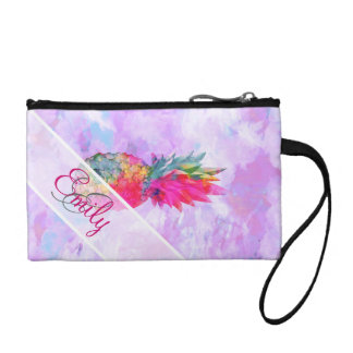 Monogram Bright Neon Pineapple Tropical Watercolor Coin Wallet