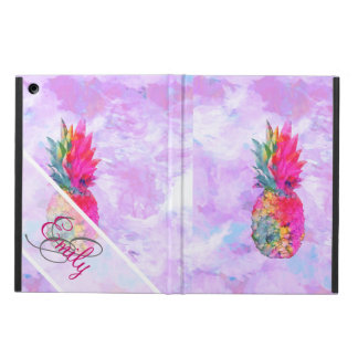 Monogram Bright Neon Pineapple Tropical Watercolor Cover For iPad Air