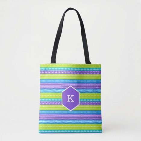 Monogram bright peacock colored stitches tote bag