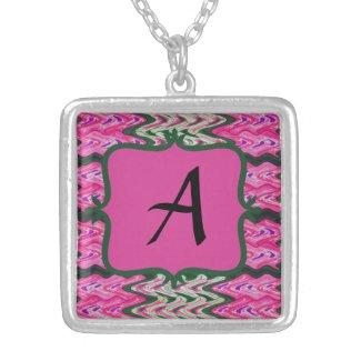 Monogram Bright Pink Green pattern Pendants
