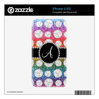 Monogram bright rainbow glitter volleyballs skins for iPhone 4